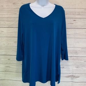 Chico's Blue Green Pullover Long Sleeve Top Tunic